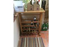 Wooden wine rack with wood top