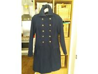 PAPAYA NAVY WOOL MILITARY COAT SIZE 8