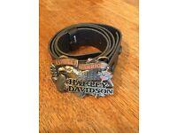 Harley Davidson 'Asphalt Warrior' black leather belt