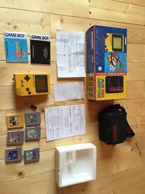 1997 GameBoy, Case, Box, Games and original reciept from 1997