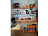 Kids Study desk italian furniture Moretti in Orange Blue