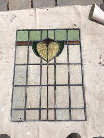 Leaded stain glass panel