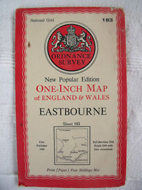 "Vintage 1946 Ordnance Survey 1"" paper map no 183 Eastbourne. Very good condition. £5.50 ovno."