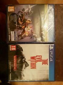 Ps4 games not used Destiny the taken king and the evil within