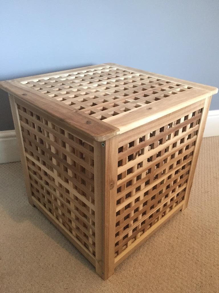 Ikea Wooden Bedside Table Laundry Basket Storage Box