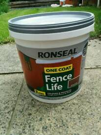 Unopened Ronseal One Coat Fence Paint 9 Litres Medium Oak