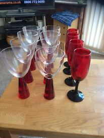 2 sets of lovely red crystal glasses