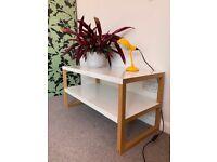 Habitat KILO TV unit / coffee table - White powder coated steel & solid oak frame