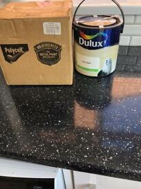 Dulux Fine Cream two paint tins.