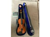 Violin in case with new strings