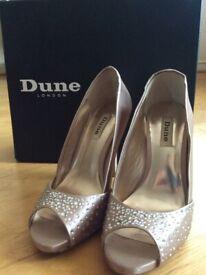 LIKE NEW Stunning Dune Light Bronze Champagne Jewelled Stiletto Heels (Wedding Prom Glamour - UK 6)