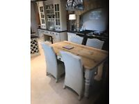 Pine Table with F&B Stoney ground painted legs and 4 x Lloyd loom dining chairs