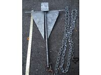 Danforth anchor with 10ft chain cable