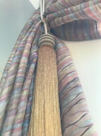 VOILE CURTAINS SUITABLE FOR DRESSING LARGE APEX WINDOW WITH GREEN & GOLD TIEBACKS