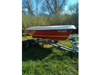 SKIPPER 14 SAILING DINGHY WITH AS NEW TRAILER,
