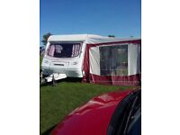 compus omega 510 5 berth caravan with awning , toilet shower ,heaters and