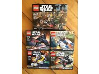 5 x Lego Star Wars NEW sets - 4x Series 4 Microfighters and 1x Rebel Trooper set: UNOPENED AND BOXED
