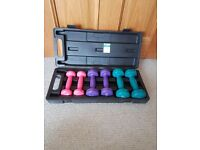 Womens Pro Fitness 6 dumbell set with various colours