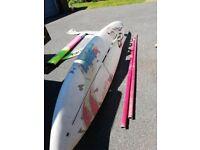 Windsurfer Alpha 160 beginner/ itermediate board, sail & two piece mast.