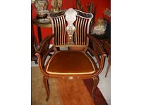 Art Nouveau antique mahogany and satinwood inlaid, decorative dining, salon chair, c.1900, £300 ONO
