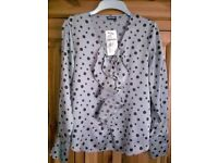 LADIES GERRY WEBER LONG SLEEVE SILVER GREY SPOT BLOUSE, UK SIZE 10, RRP £60, BRAND NEW WITH TAGS