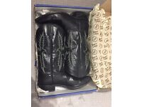 Tony Lama black cowboy boots in pampas leather with welt stitching