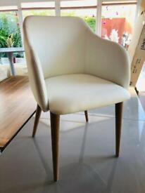 Dwell Dip Dining Leather Chair White, New, RRP£149