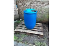 Plastic blue drum tighthead barrel with double bung