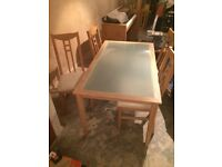 Dining table & 4 chairs, VGC, Raynes Park