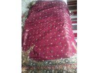 Maroon sari with velvet detail