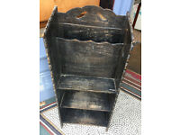 Stained Oak Paper Rack and Bookcase - Must be Seen