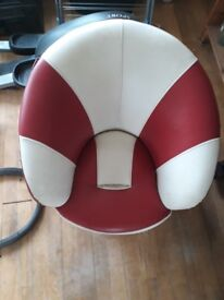 Kids leather red and white spinning armchair