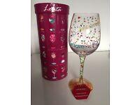 Lolita 'congratulations' decorative hand painted wine glass - gift/present/well done/recipe