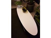 Dwell Store - Ltd Edition Eliptical White Gloss Coffee Table Metal Frame Legs