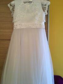 Girls White Holy Communion / Bridesmaid Dress White RJR.John Rocha -mockable bolero dress