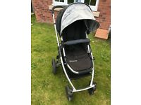 Pram and buggy including matching cosytoes, raincovers, maxi cosi adaptors and cat net.