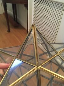 Moravian Star Clear Glass Antique Brass Ceiling Light Shade Pendant