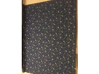 BLACKOUT ROLLER BLIND FOR CHILD'S ROOM, WIZARD / HARRY POTTER THEME, ROYAL BLUE WITH GOLD PATTERN