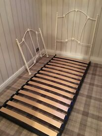 Cream iron single bed frame with 3' mattress