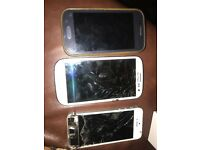 2 Samsung's 1 iPhone SPARES OR REPAIRS