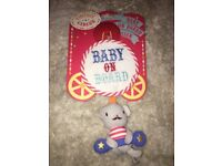 Vintage circus baby on board sign