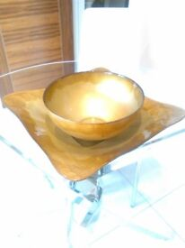 A beautiful modern coloured glass tray and matching bowl-bronze colour