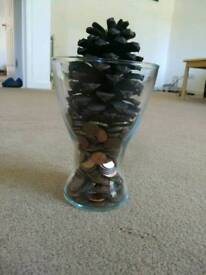 Beautiful Vase - filled with coins