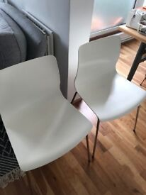 URGENT! 4 white and chrome dining chairs