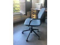 Lovely used IKEA LÅNGFJÄLL swivel office chair, with wheels, blue fabric black frame