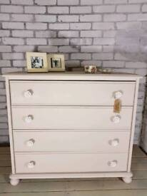 Gorgeous country cream vintage rose 4 drawer chest
