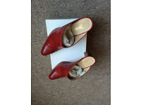 Yanko Red Leather Shoes Size UK 4 1/2 ( EUR 37)