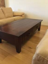 SOLID OAK coffee table with two drawers in excellent condition