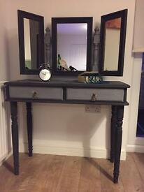 Retro-chic fully upcycled dressing table and mirror in chalk graphite finish