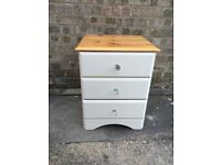 Shabby Chic Pine Bedside Cabinet - 3 drawers
